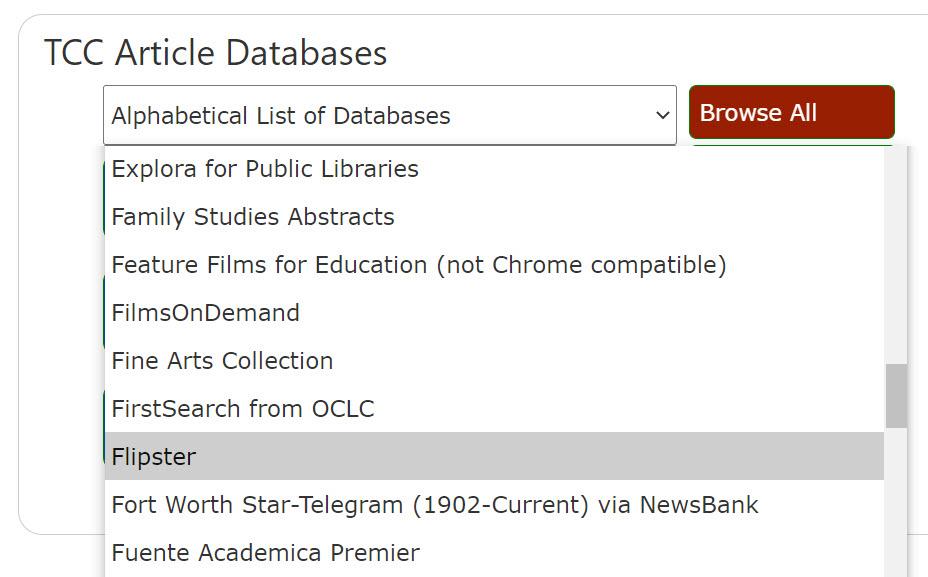 screenshot of TCC Article Databases alphabetical drop-down menu
