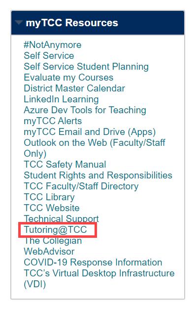 myTCC Resources menu in Blackboard