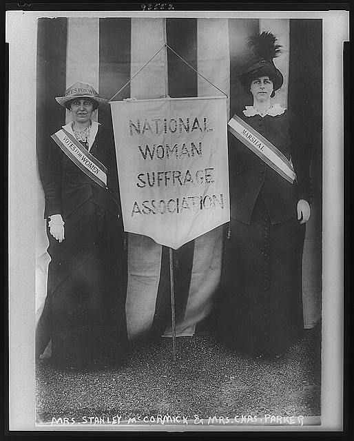 Two women holding holding a NWSA banner, Library of Congress