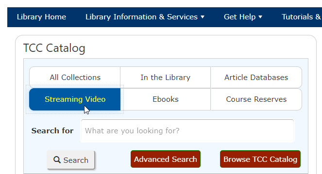 streaming video button in library catalog