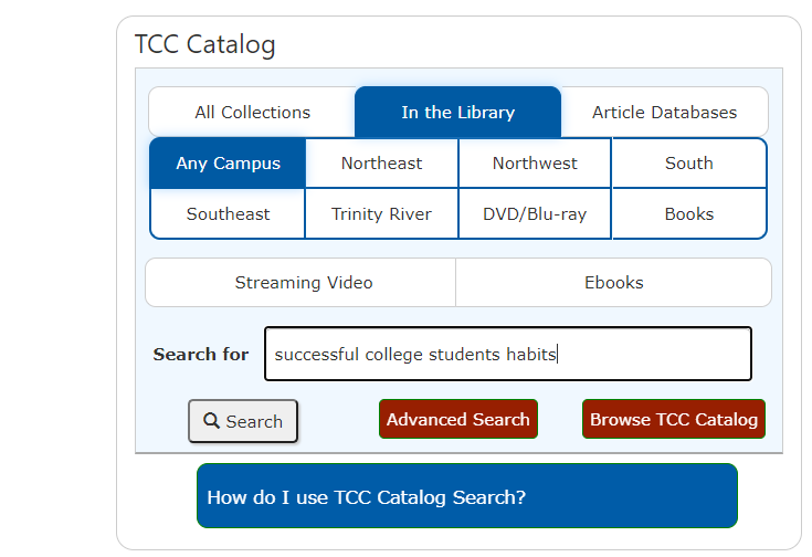TCC Catalog search tool; text entered