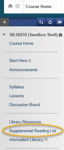 Course Navigation Menu with Supplemental Reading List Content Area circled