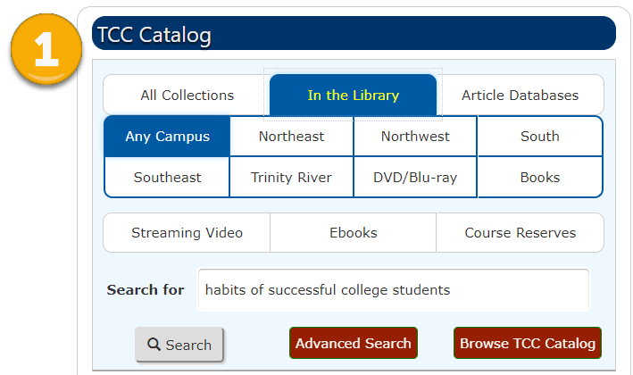 TCC Catalog search box with text entered: habits of successful college students. Search parameters set to