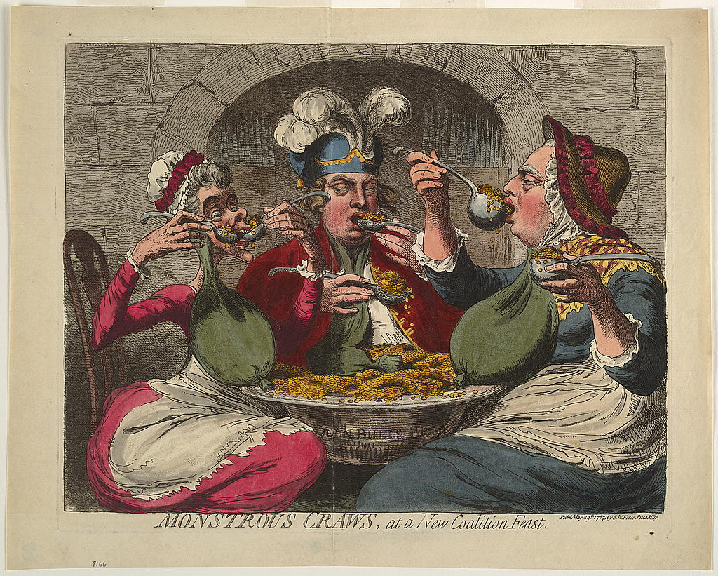 Cartoon shows King George, dressed as an old woman, the Queen, and the Prince of Wales