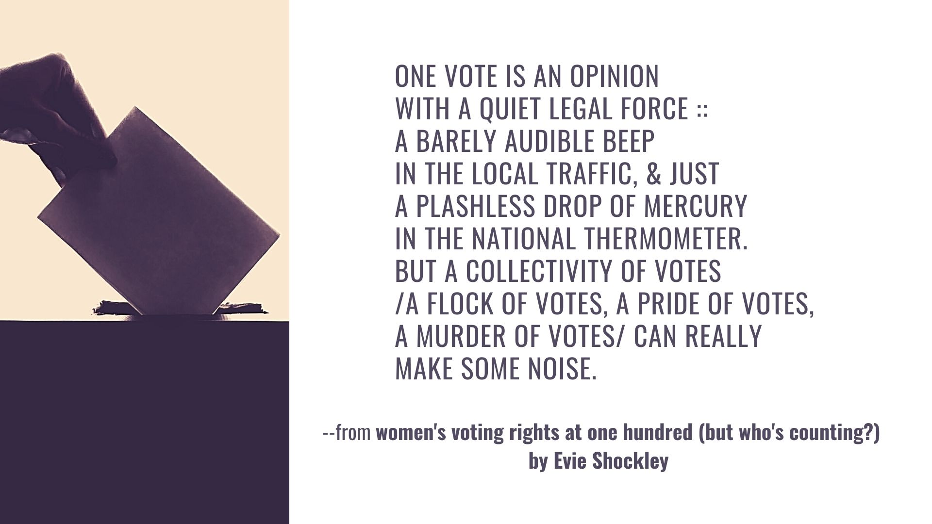 one vote is an opinion with a quiet legal force :: a barely audible beep in the local traffic, & just a plashless drop of mercury in the national thermometer. but a collectivity of votes /a flock of votes, a pride of votes, a murder of votes/ can really make some noise. Quote from Evie Shockley