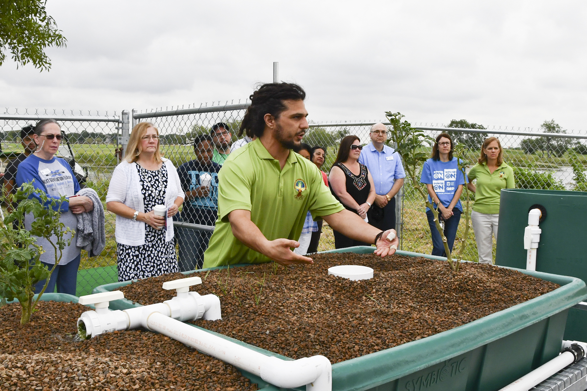 Dr. Bradley Borougerdi shows off the new hydroponics garden