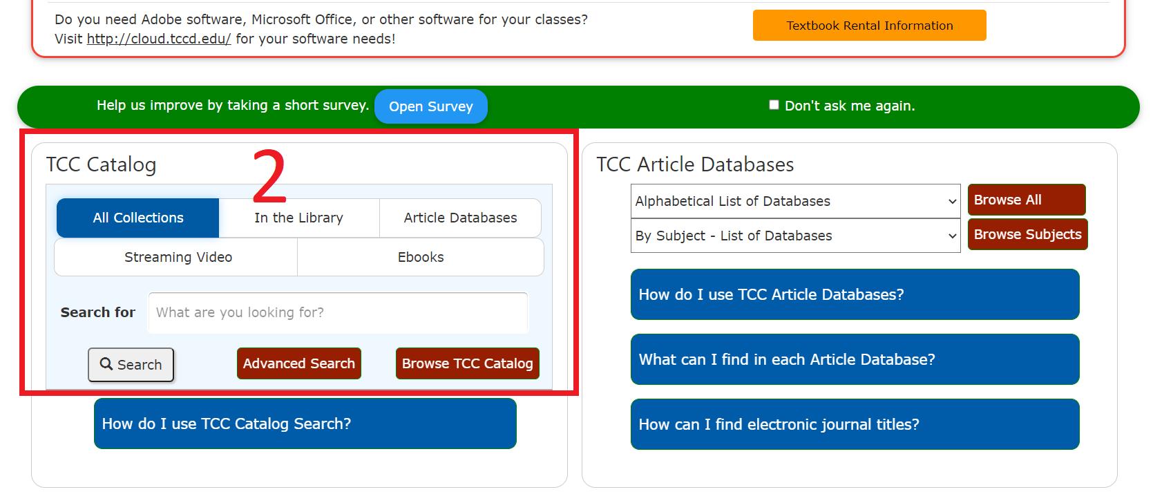 2 Scroll down to the TCC Catalog box