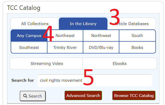 Choose catalog search options