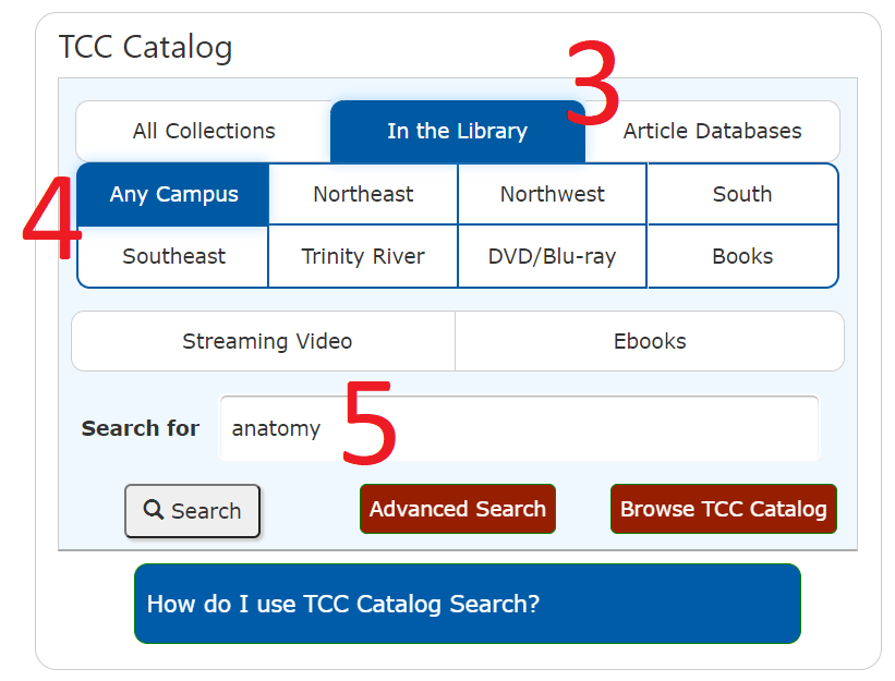 Select catalog search options
