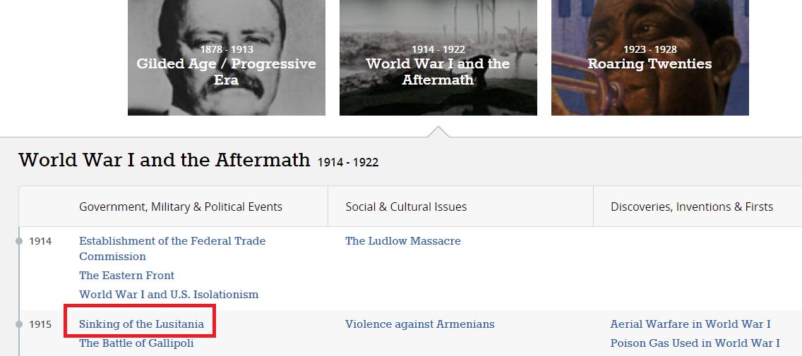 NewsBank Historical Timeline example