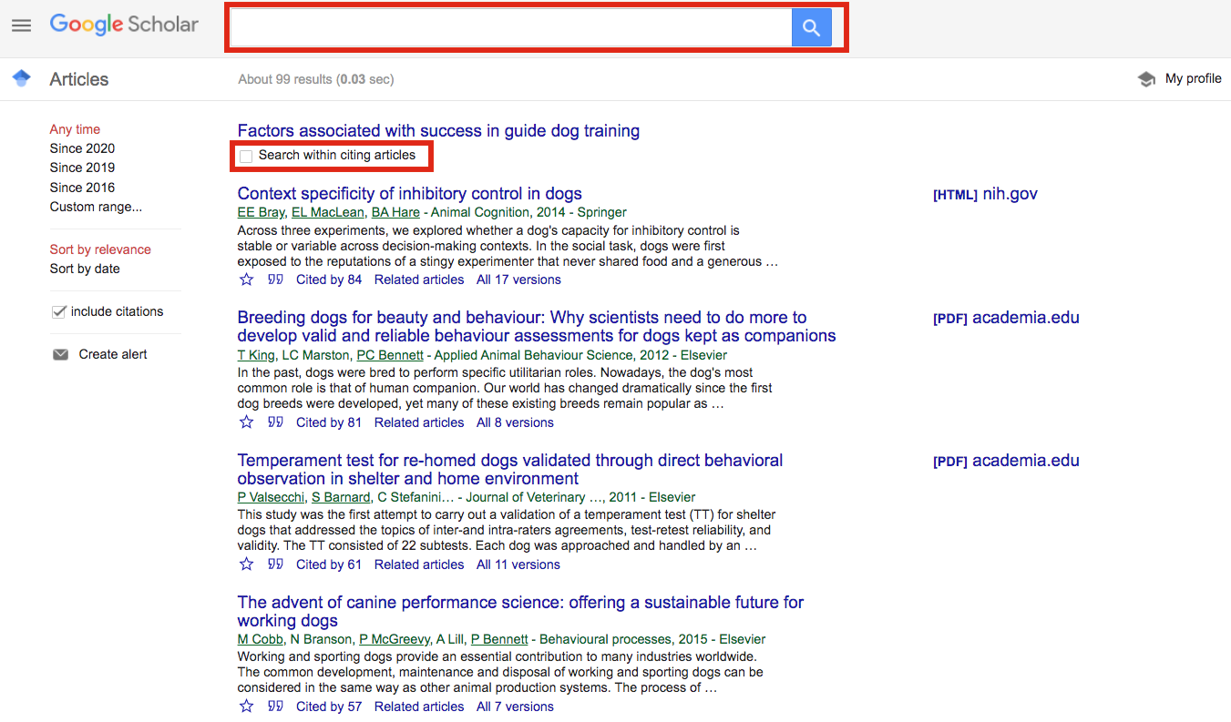 Location of search bar and check box to search within the cited by result list