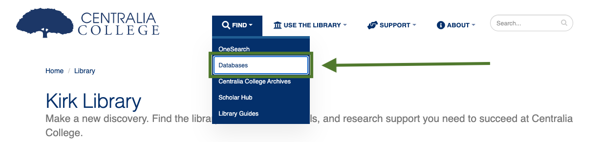 Database link location, from homepage, click find, then databases
