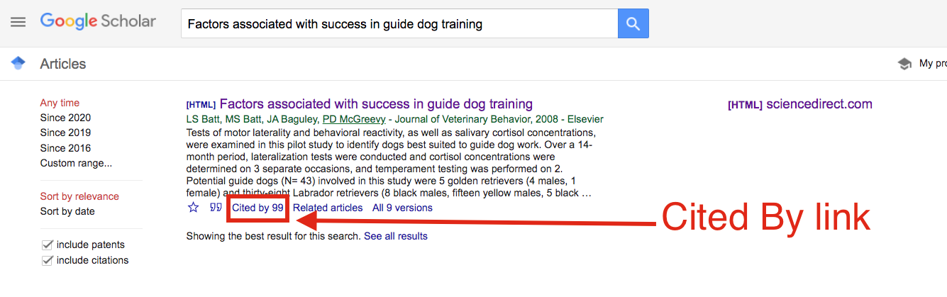 """The """"cited by"""" link is located at bottom of individual results in Google Scholar"""