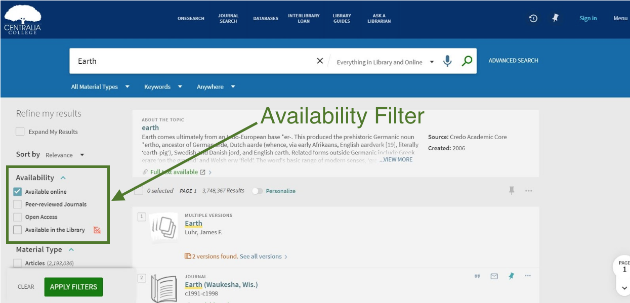 Screenshot showing location of availability filters in OneSearch