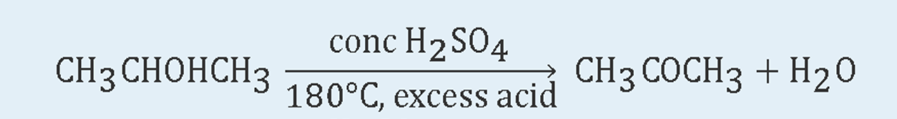 Three-Carbon secondary alcohol reaction in the presence of high temperature and excess acid. The reaction shows the corresponding ketone product and water.