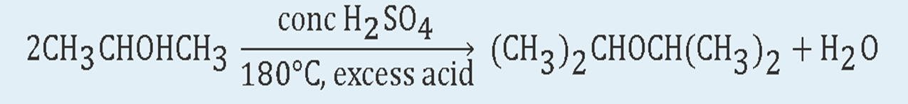 Two moles of Three-Carbon secondary alcohol reaction in the presence of high temperature and excess acid. The reaction shows the formation of disopropyl ether.