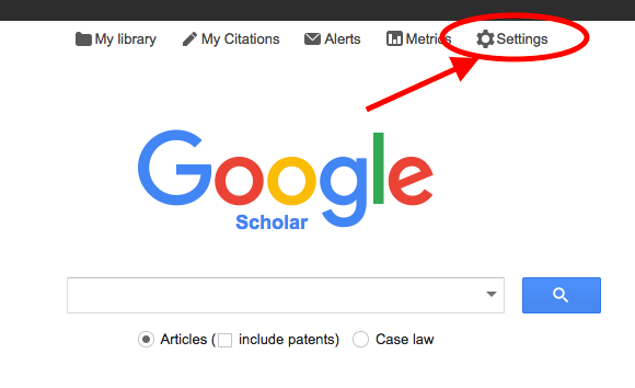 "Screenshot of Google Scholar ""Settings"" option"