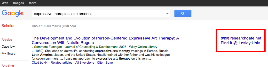 Screenshot of Google Scholar