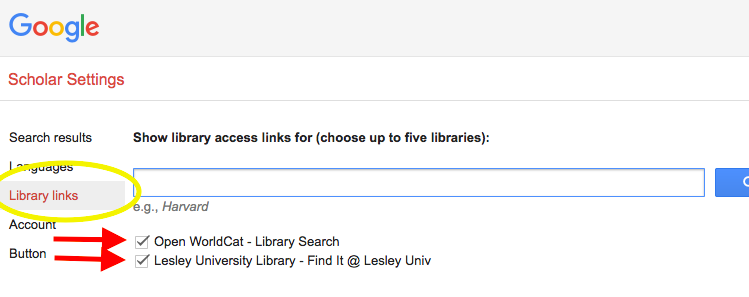 "Screenshot of Google Scholar ""Library links"" option"