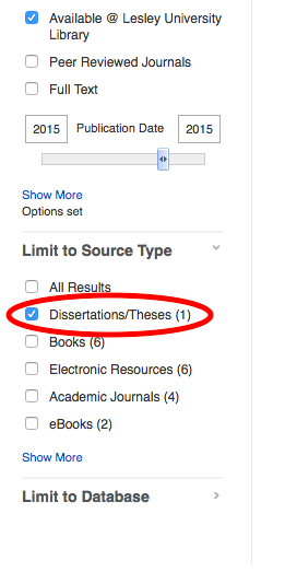Theses and dissertations checkbox in left column of @LL Search