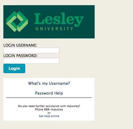 lesley login screen