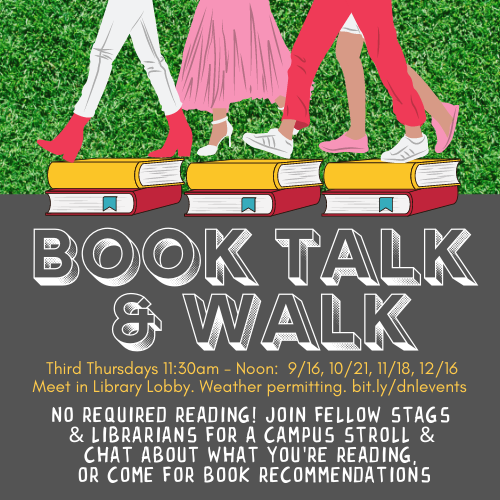 Graphic for Book Talk & Walk event series