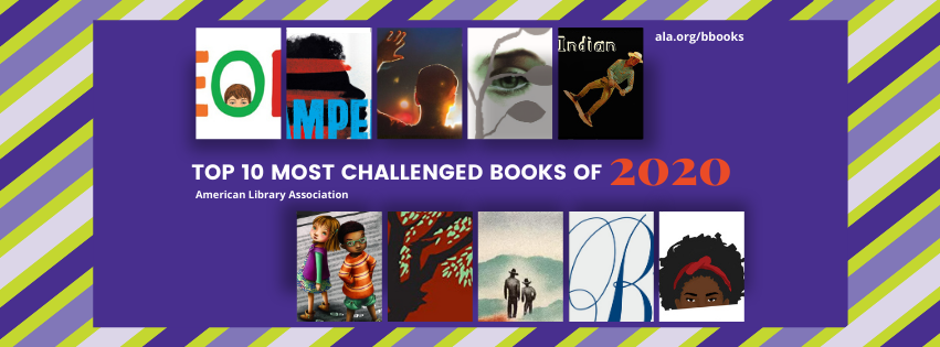 ALA graphic with partial book covers of the Top Ten Most Challenged Books of 2020