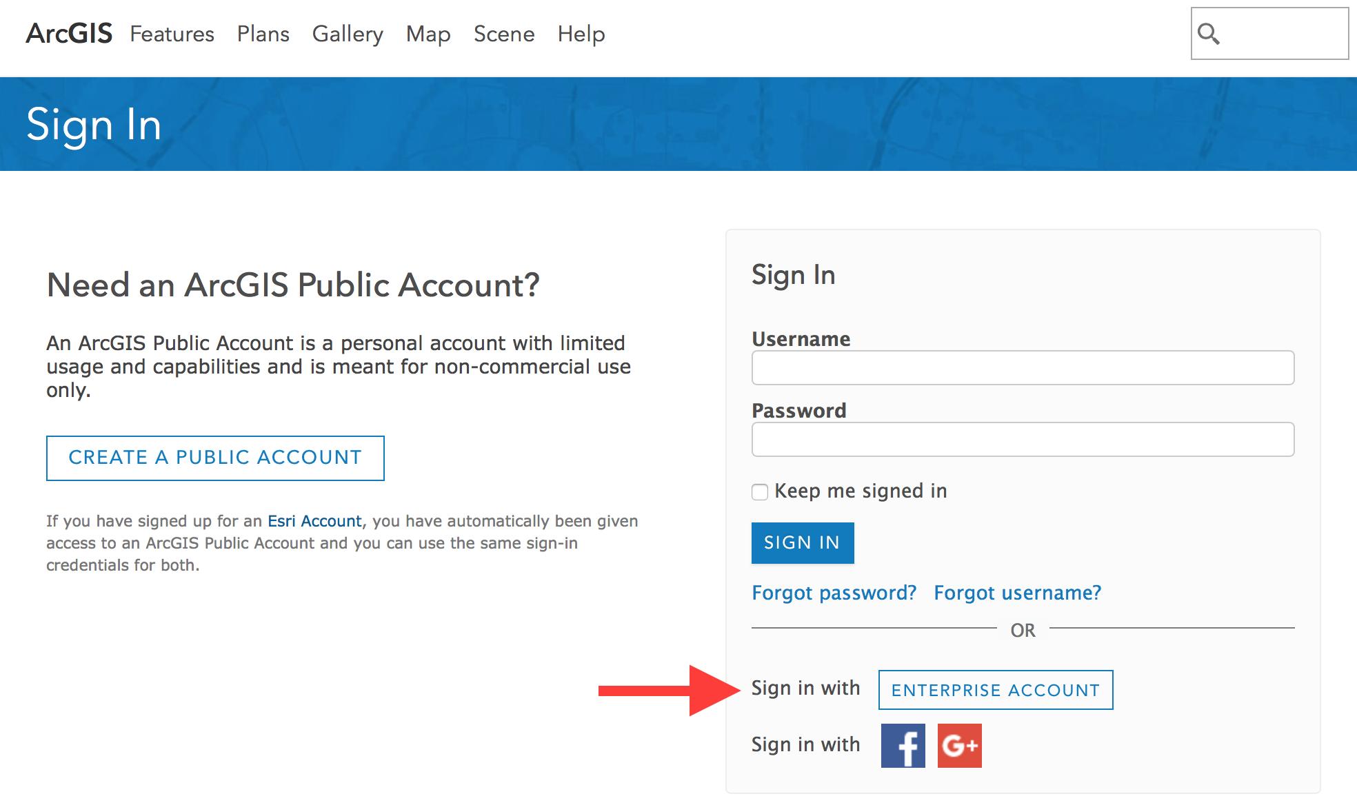 ArcGIS Online Login screen
