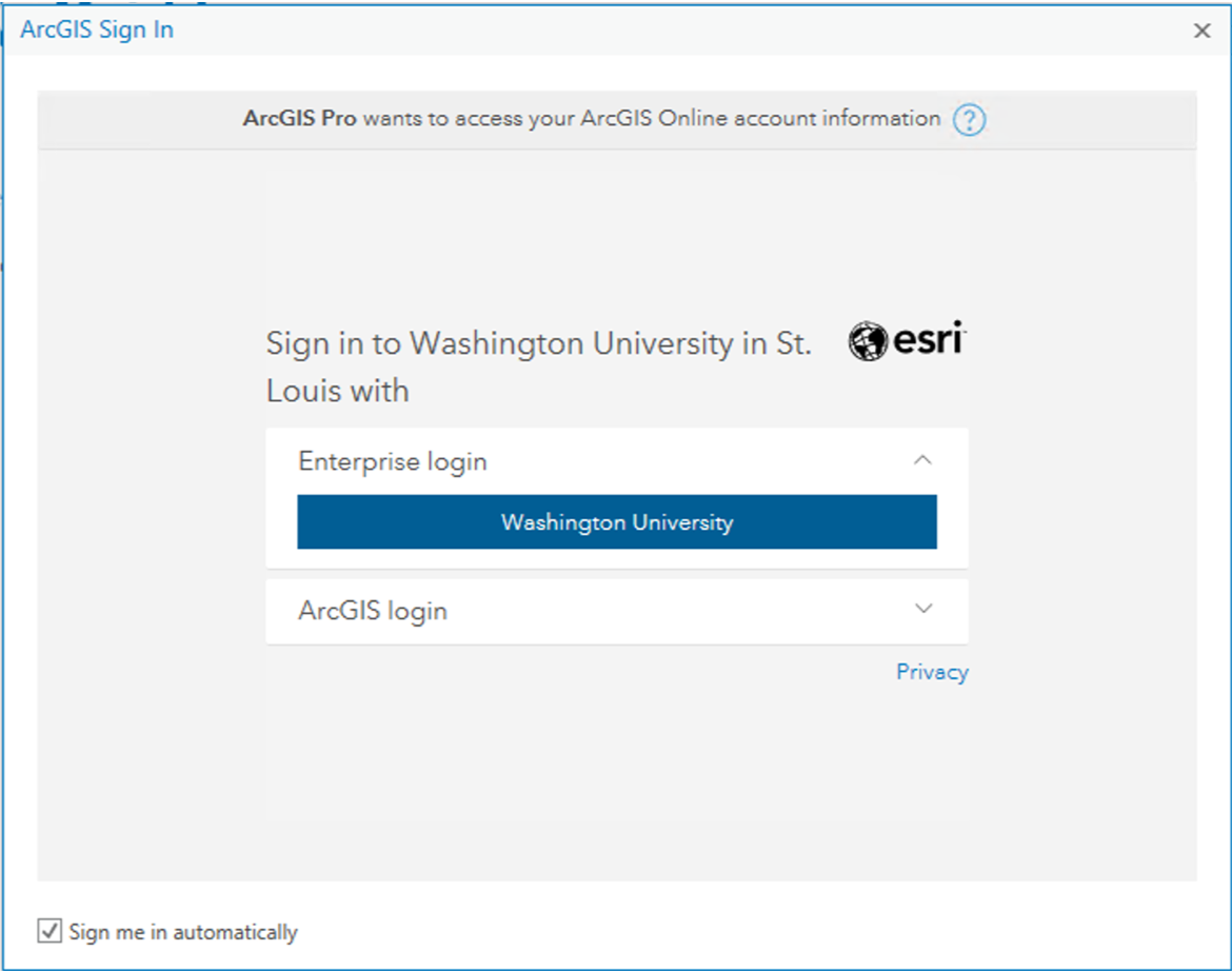 WUSTL AGOL Sign In screen