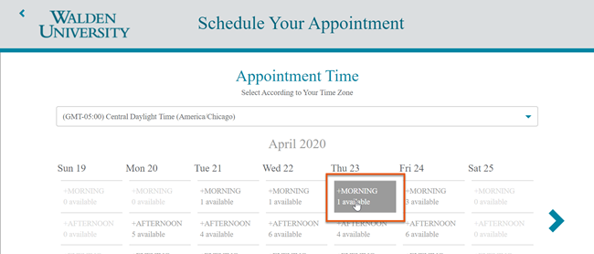select available appointment time.