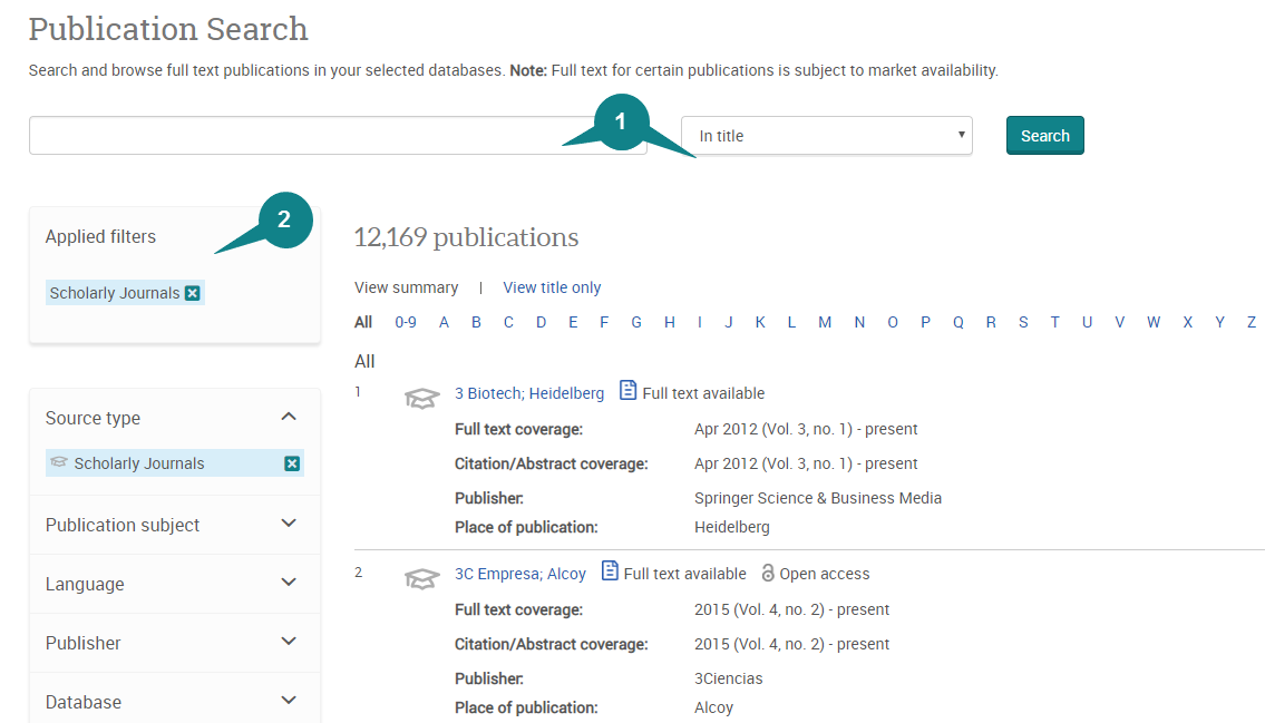 Publication Search box and filters