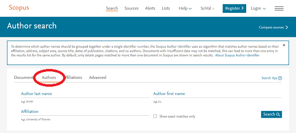 Scopus - Author Search Page