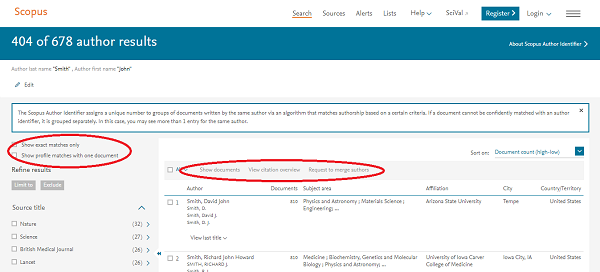 Scopus - Authors Results Page