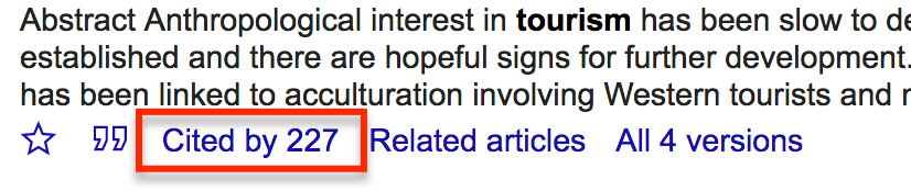 "Shows a search result from Google Scholar with the ""Cited by"" link highlighted"