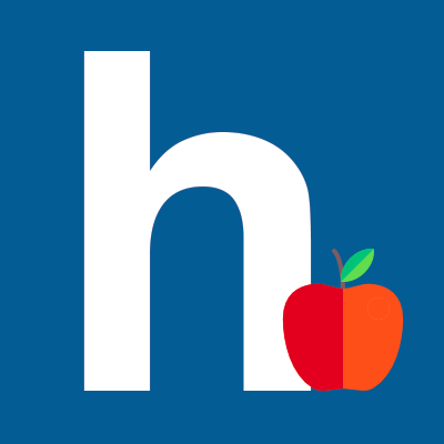 letter H with an apple
