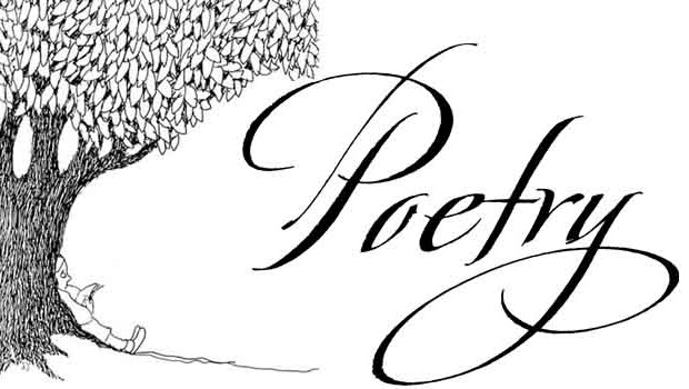 "Drawing of a tree by poet Shel Silverstein and the word ""Poetry"" in large script"