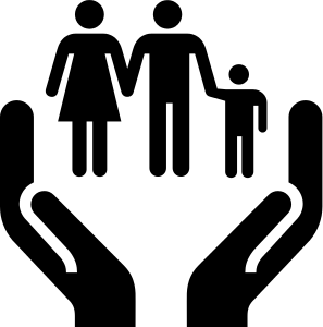 Two hands holding/lifting up three people icons--a man, a woman, and a child