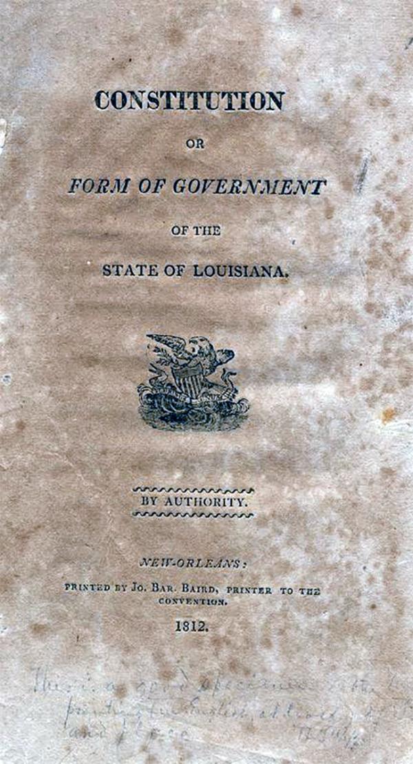 cover of Louisiana constitution 1812