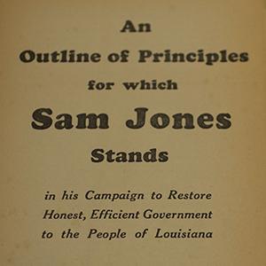 Title page for Sam Jones gubernatorial platform
