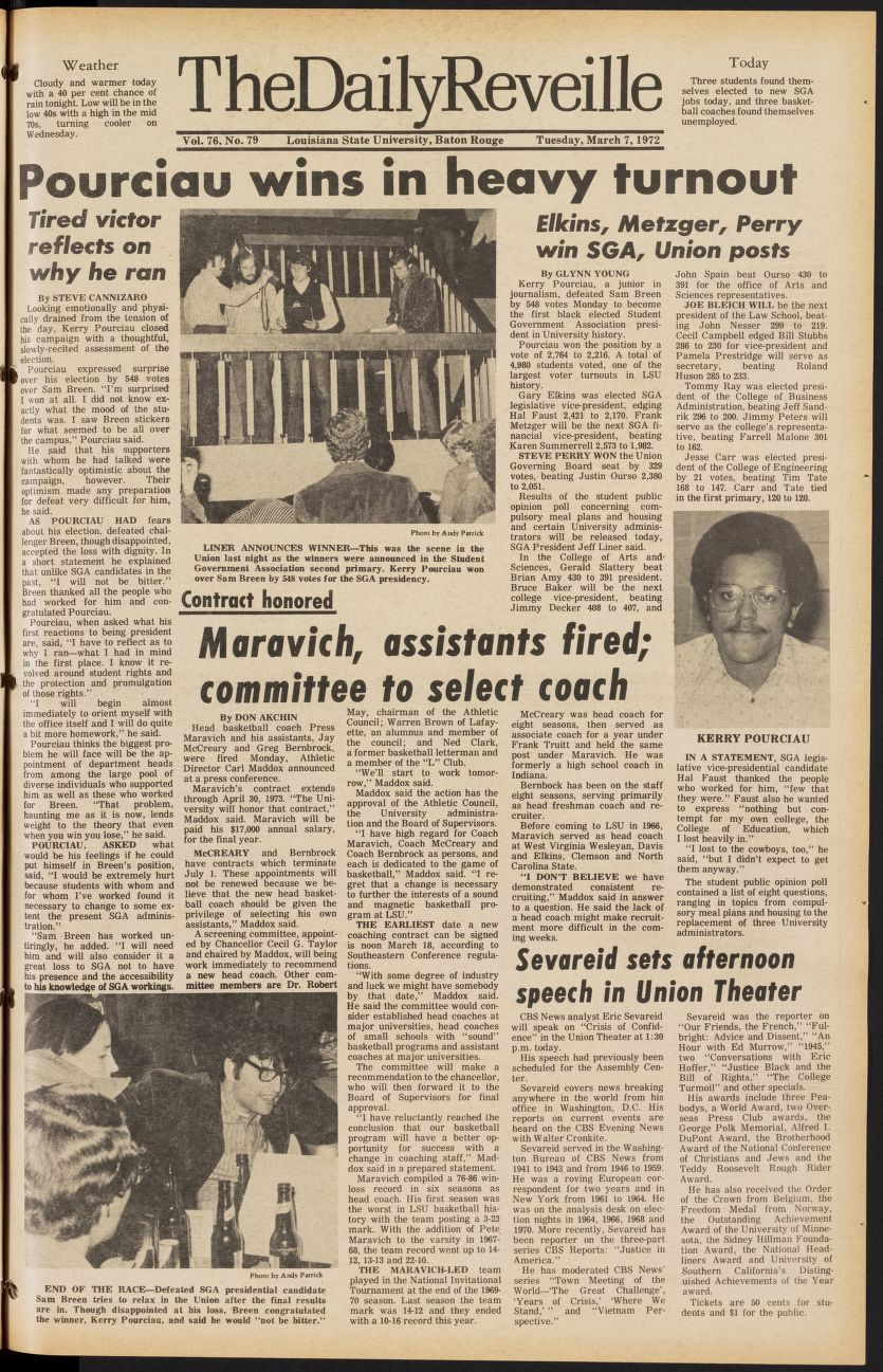 Cover of LSU Reveille newspaper