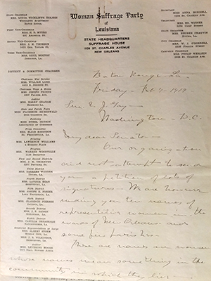 Woman Suffrage Party of Louisiana letter on stationery