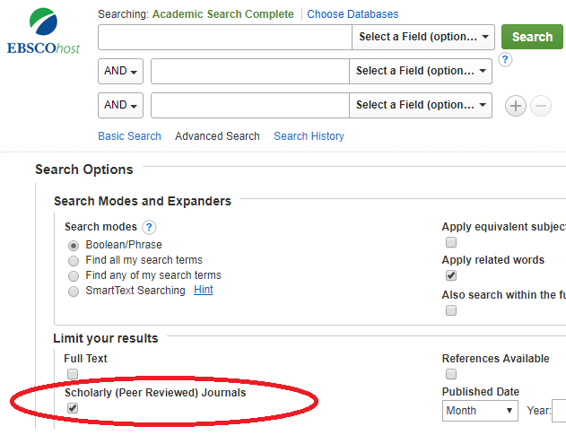 image of peer-reviewed option in Ebsco search