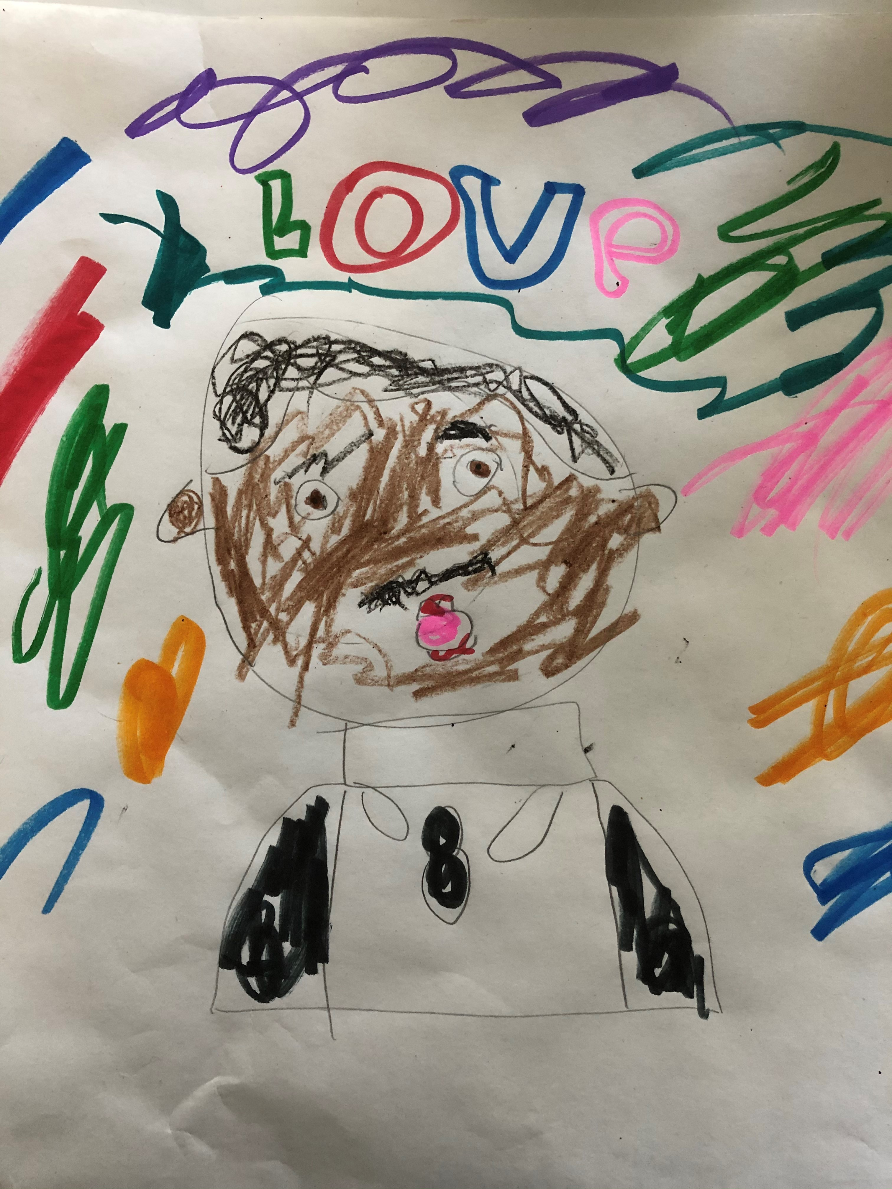 Child's Drawing of MLK with Love written above
