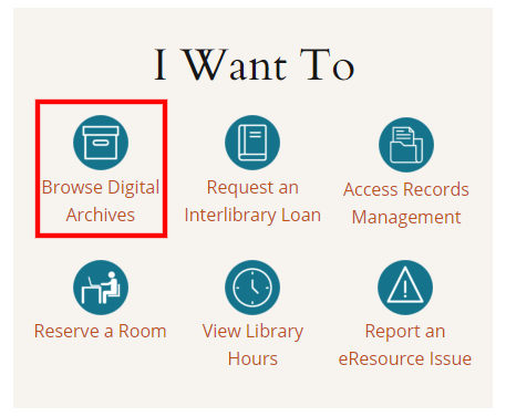 Click the Browse Digital Archives link on the main library page