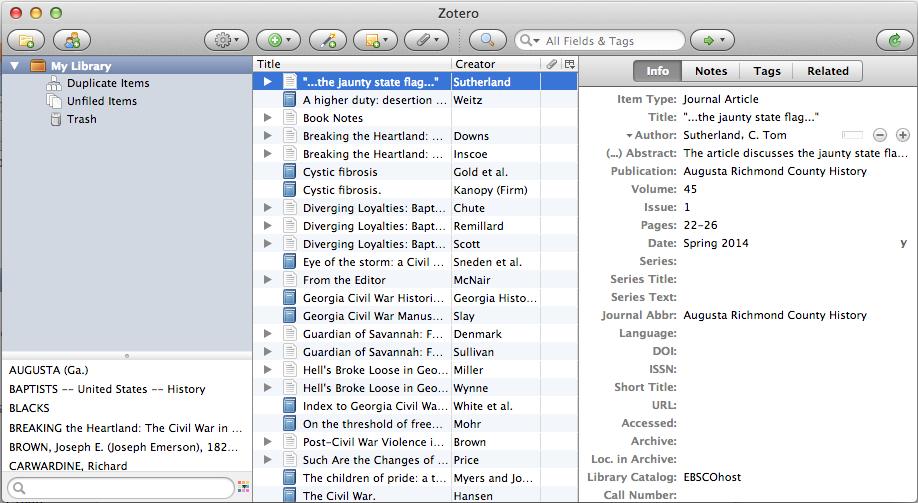Screenshot of the Zotero software showing the zotero library