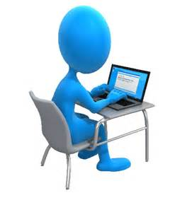 Blue Cartoon FIgure sitting at a desk typing on a laptop