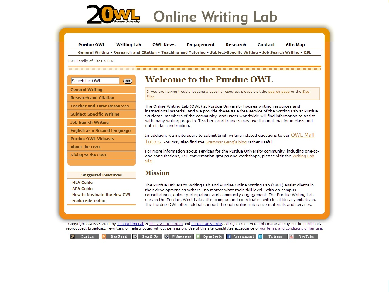 Screenshot of Purdue Online Writing Lab Page