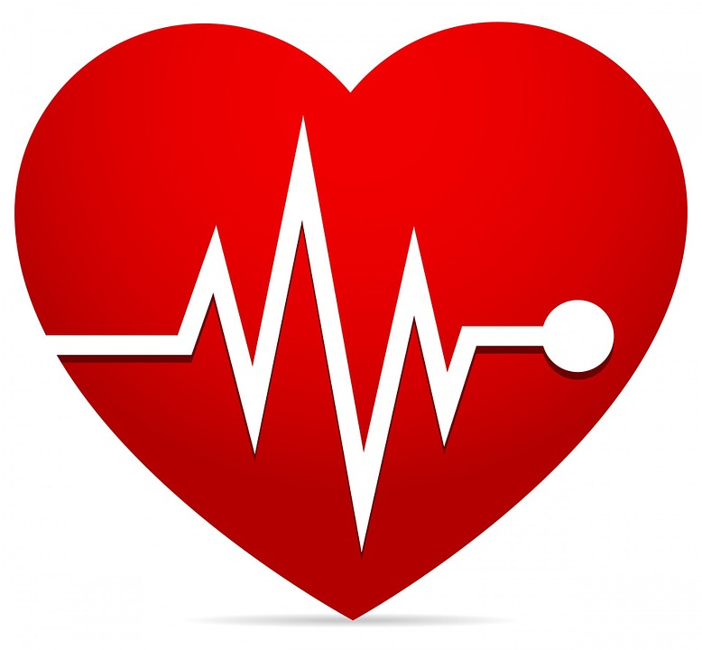 Image of a red heart shape with an ekg line through it