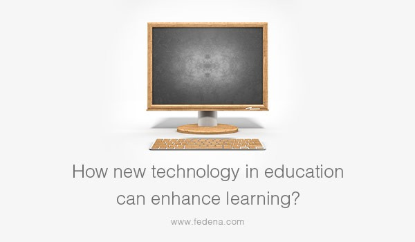"Image of a computer monitor with text: ""How new technology in education can enhance learning?"""