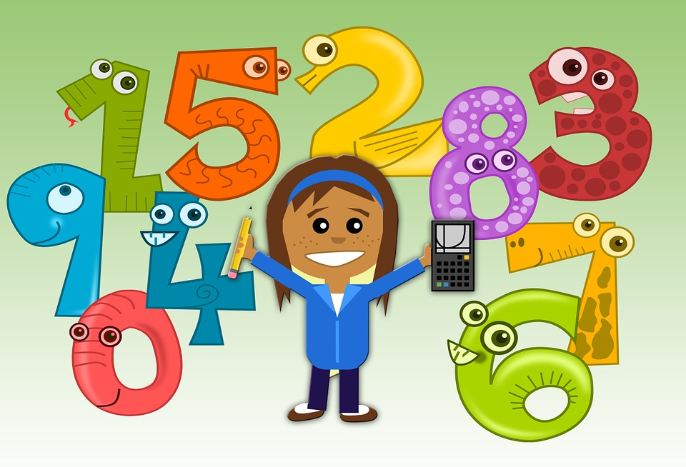 Image of cartoon girtl holding a calculator and surrounded by cartoon numbers